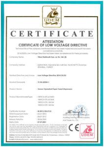 EN Certificate of Low Voltage Towel Dispensers